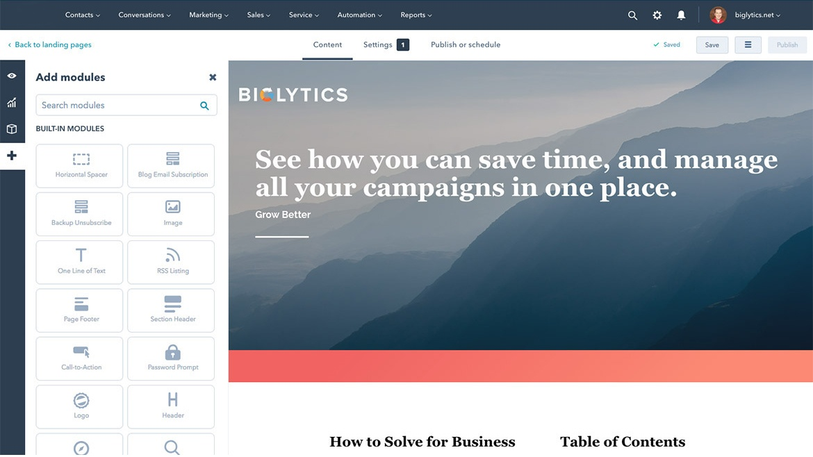 HCM and Payroll Marketing Website Editor Screenshot