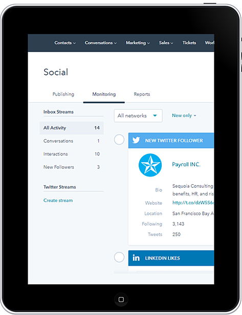 Monitoring HR Social Media Marketing On a Tablet